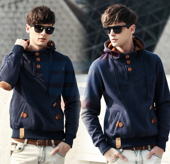 Mens Hoodie Casual Fastener Design Fashion Coat Blue (Medium) - 0561