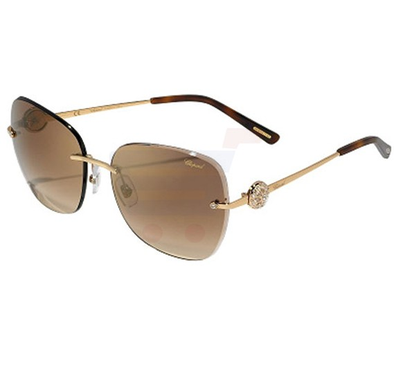 Chopard Oval Shiny Rose Gold Frame & Brown Mirrored Sunglass For Women - SCHB22S-300G
