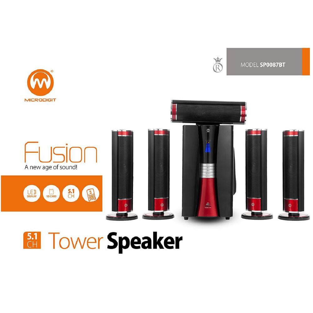 Microdigit Premium 5.1CH Multimedia Tower Speaker, SP0087BT