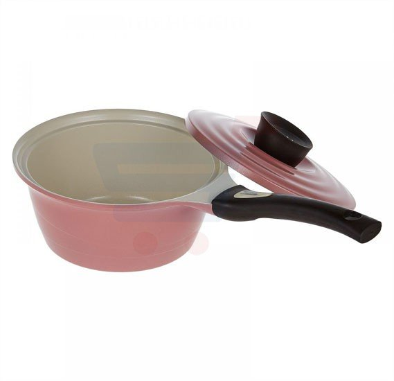 Pallas Eco Ceramic Sauce Pan with lid 18 cm, Pink