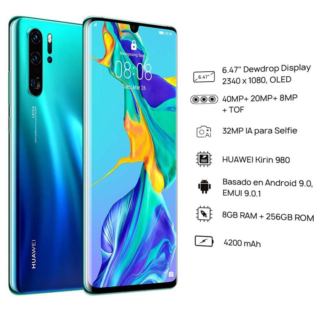 Huawei P30 Pro Dual SIM - 256GB, 8GB RAM, 4G LTE, Aurora