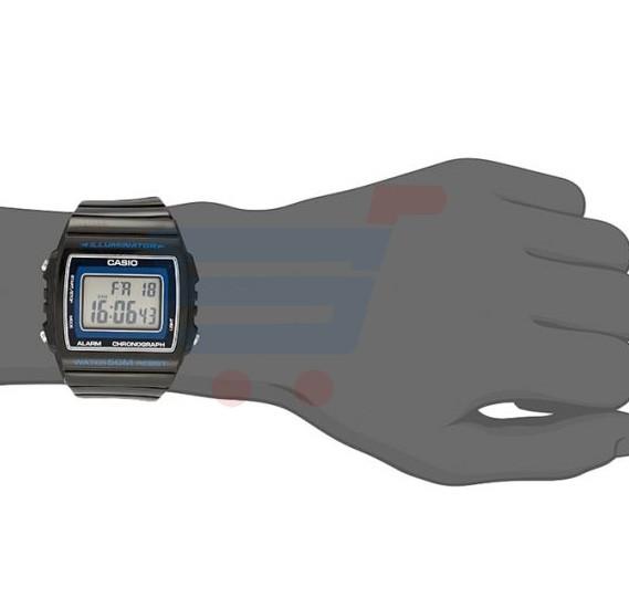 Casio Digital Dial Illuminator Watch For Men, Black Resin Band-W-215H-8A
