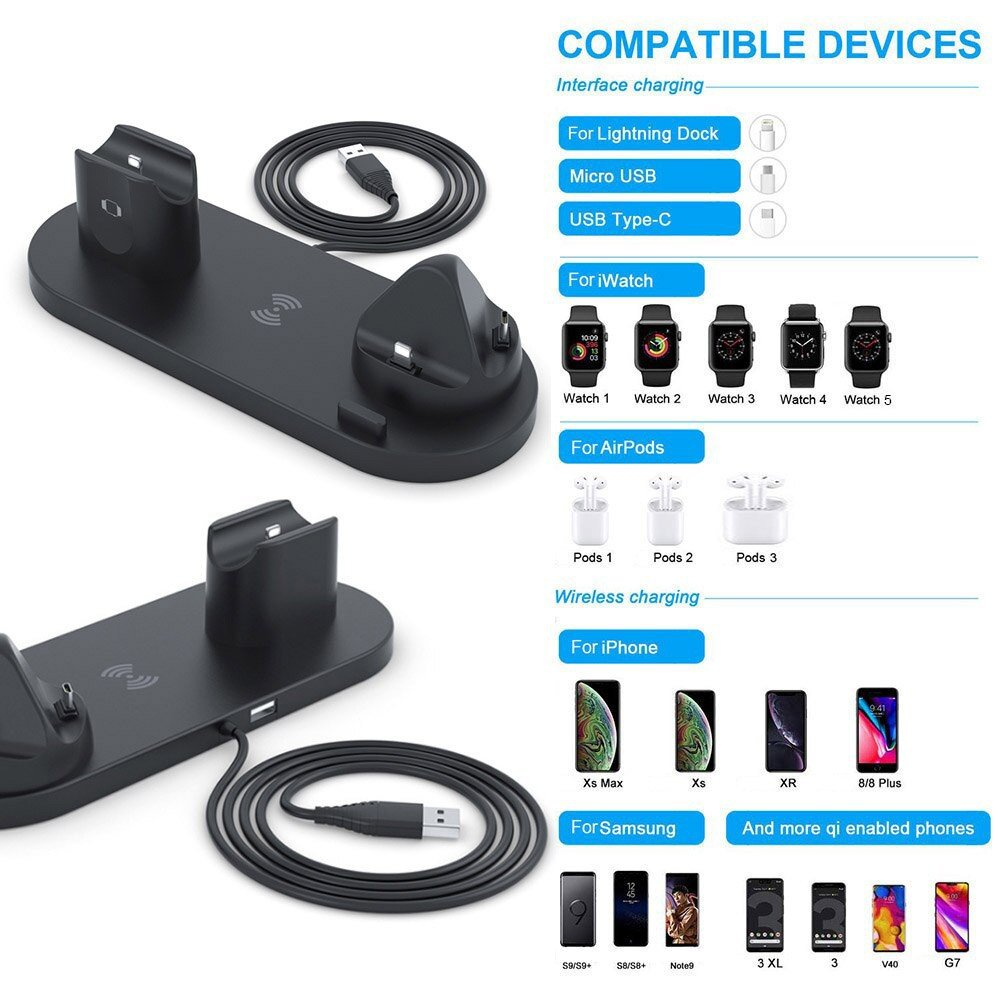 6 in 1 Charging Stand 10W Qi Wireless Charger Dock Station For Apple Watch, AirPods Pro and iPhone
