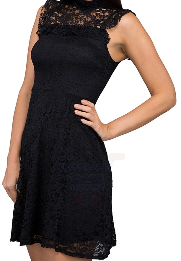 WAL G Italy High Neck Lace  Casual Dress Black - WG 67124 - XL
