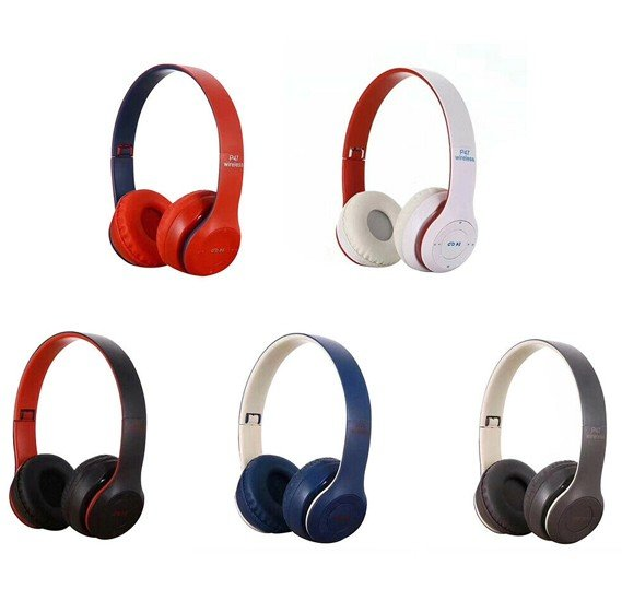 Multi Color Foldable P47 Wireless Bluetooth Headset with FM Radio, Mic & Supoort Micro SD Card