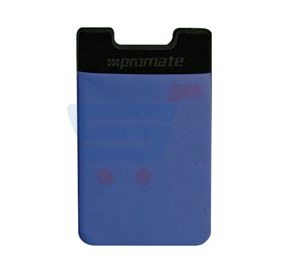 Promate Card Holder, Mobile Card Holder for Credit Metro Card Holder Pouch with 3M Rear Sticker for Apple Samsung HTC, CARDO.BLUE