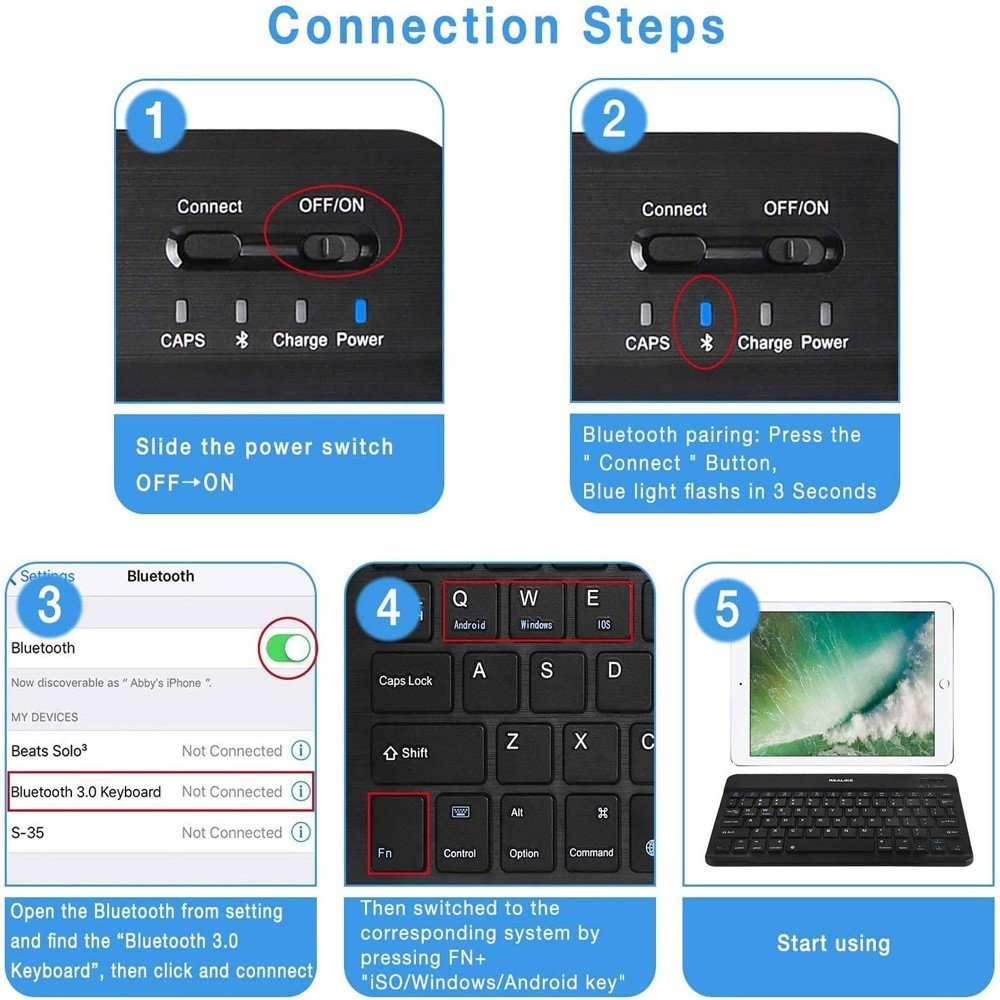 BK-100 Mini Bluetooth Keyboard Wireless Rechargeable Keyboard