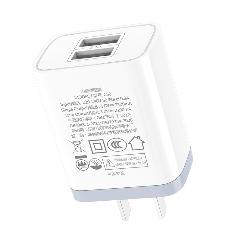 Hoco Luster Sharp Dual Port Charger 3C C50