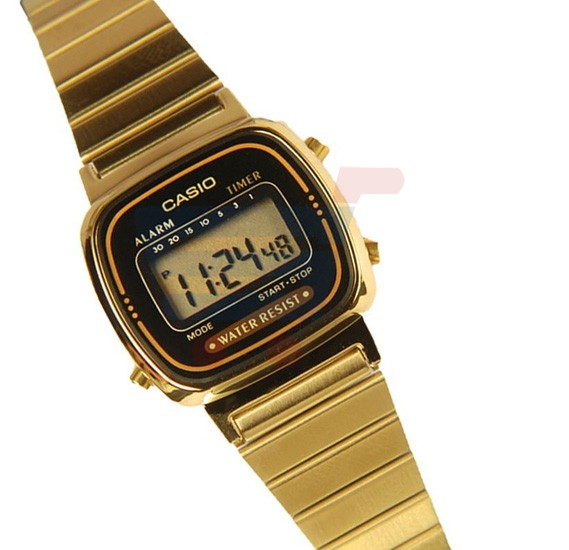 Casio Digital Dial Watch For Women, Gold Stainless Steel-LA670WGA-1DF