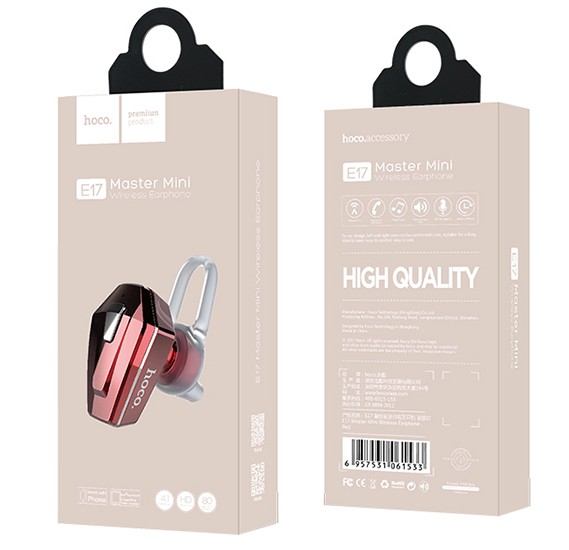 Hoco Master mini wireless earphone, 45 mAh Battery, Red, E17