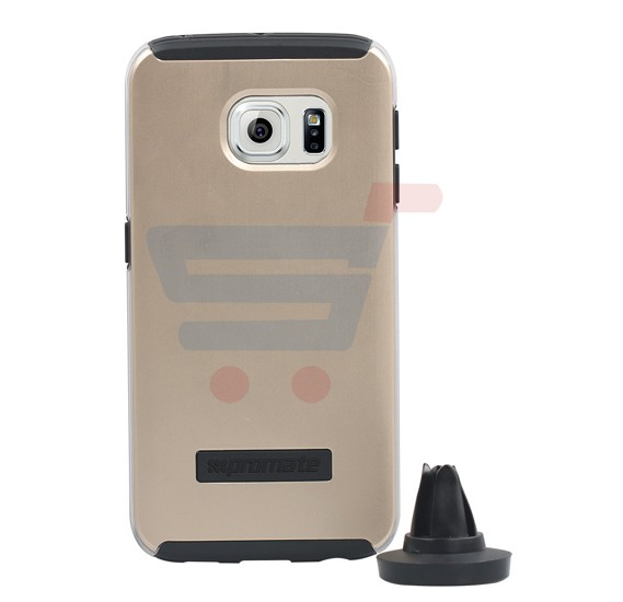 Promate mountCase S6E for Samsung Galaxy S6 Edge, Ultra Slim Metallic Finish Case With Detachable Car Mount, Gold