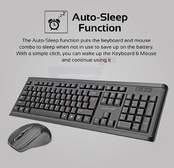 Promate Wireless Keyboard and Mouse, Full-Size Super-Slim 2.4GHz Cordless Keyboard and Mouse Combo with Nano USB Receiver and Auto Sleep for Laptops, Desktop, PC, iOS, Windows, PROCOMBO-3.BLK/AE