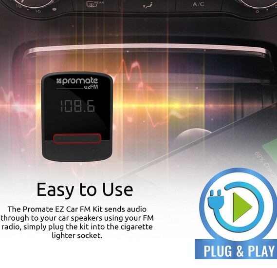 Promate EZFM Transmitter with Remote Control and 2.1 A USB Car Charger with 3.5mm Aux Plug for iPhone, Samsung, LG, HTC