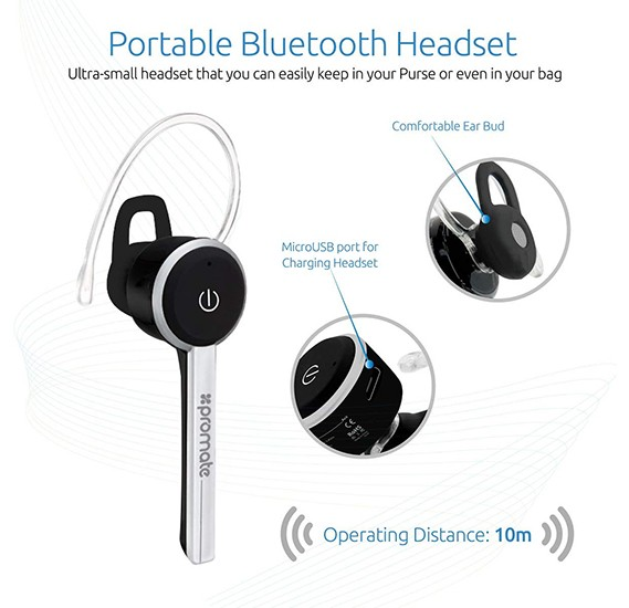 Promate Bluetooth Headset - Ultra-Slim - Professional Multi-Point Pairing - Calls & Music Streaming - HD Call Clarity - Ace-Black