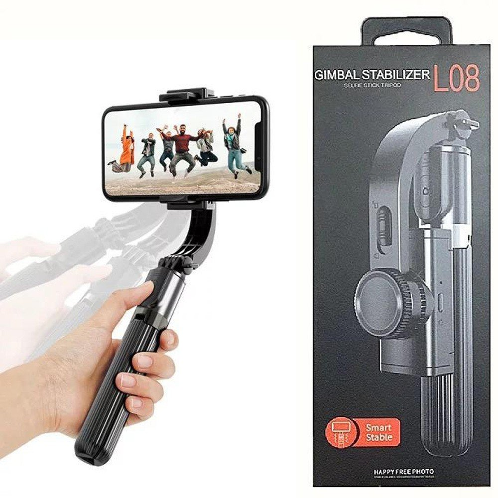 Handheld Gimbal Stabilizer for Video Vloging, Tripod for Android IOS Smartphone - Black, L08