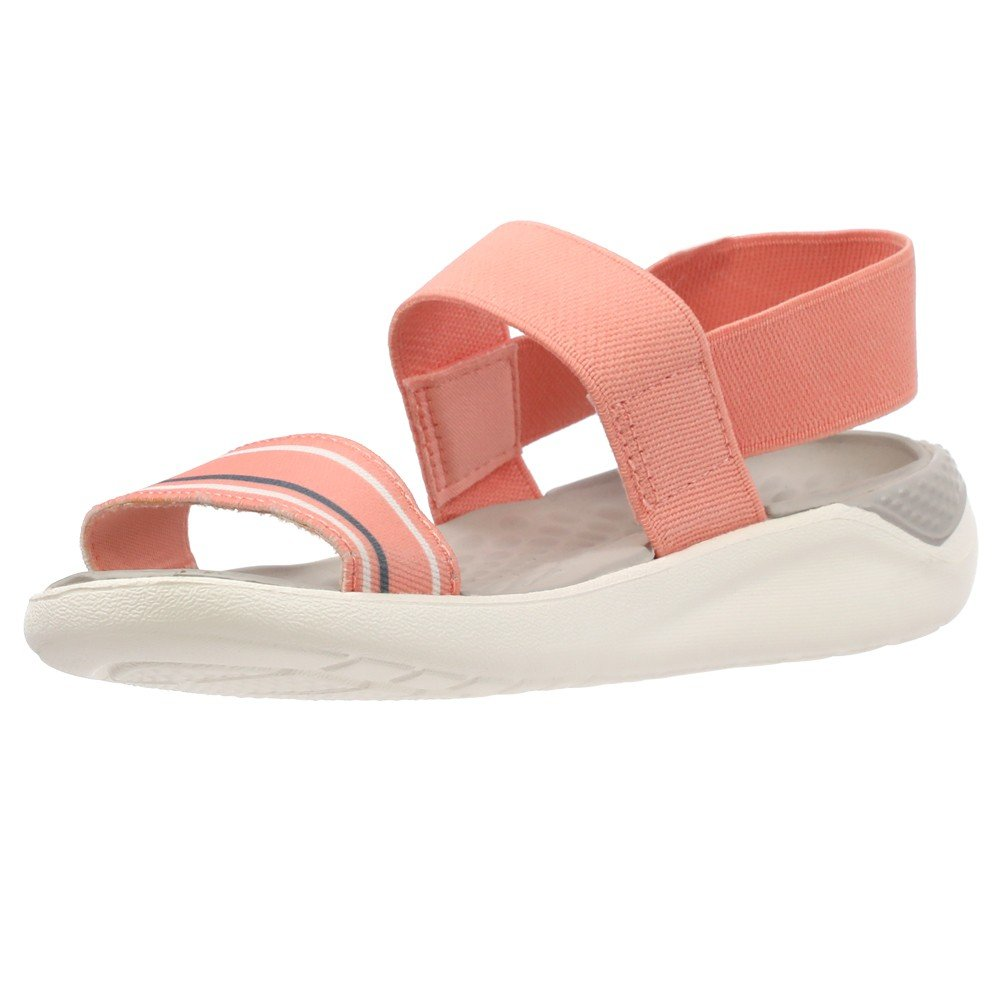 Crocs Womens Clogs Sandals Literide Sandal W Melon and White 205106-6KP, Size 37