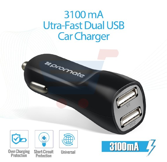 Promate Car Charger, 3.1A Dual USB Port Car Charger with Micro-USB Sync and Charger Cable for Smartphone and Tablets, CarKit-M