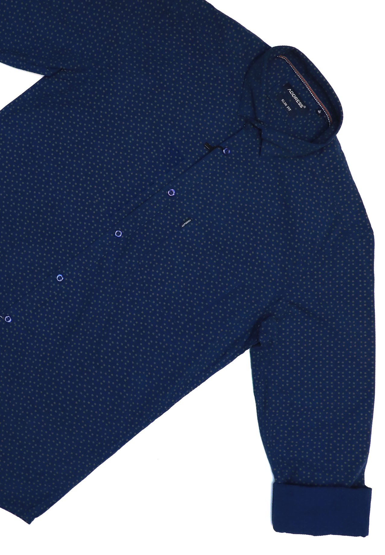 Address Casual Shirt Shirt Blue With Dots Slim Fit, Large