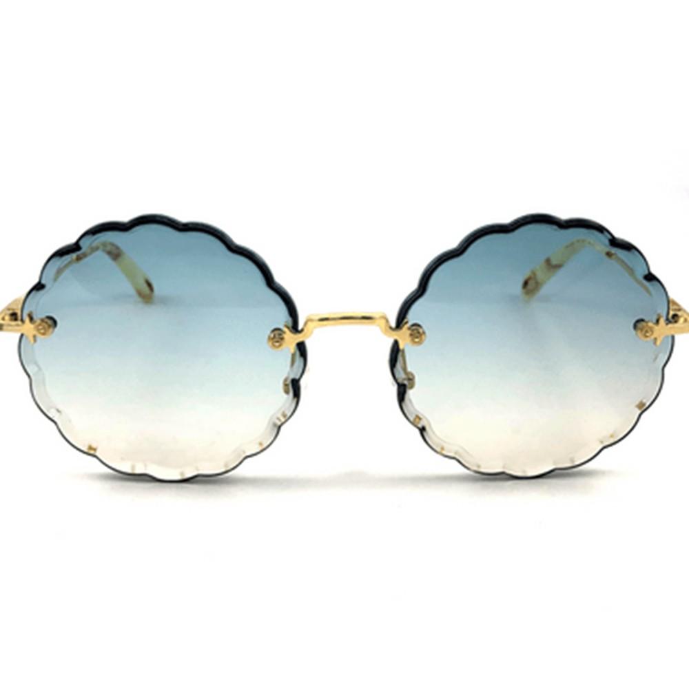 Chloe CE142S Gold Round Women Sunglasses, Blue