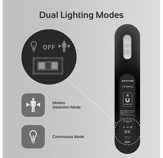 Promate Motion Sensor LED Light, Cordless Battery-Operated LED Night Light with Motion Sensor, MotionCandle-1 Black