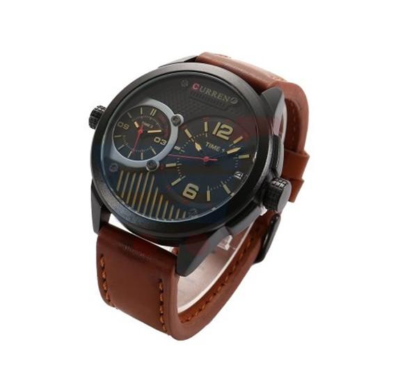 Curren Brown Leather Quartz Strap Mens Watch, -M 8249