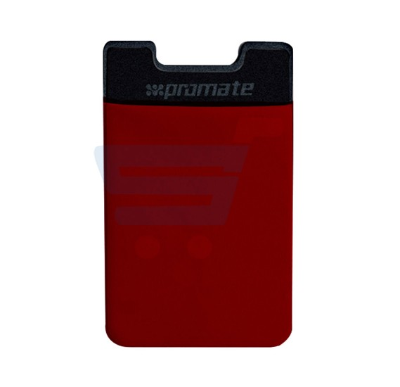 Promate Card Holder, Mobile Card Holder for Credit Metro Card Holder Pouch with 3M Rear Sticker for Apple Samsung HTC, CARDO.RED