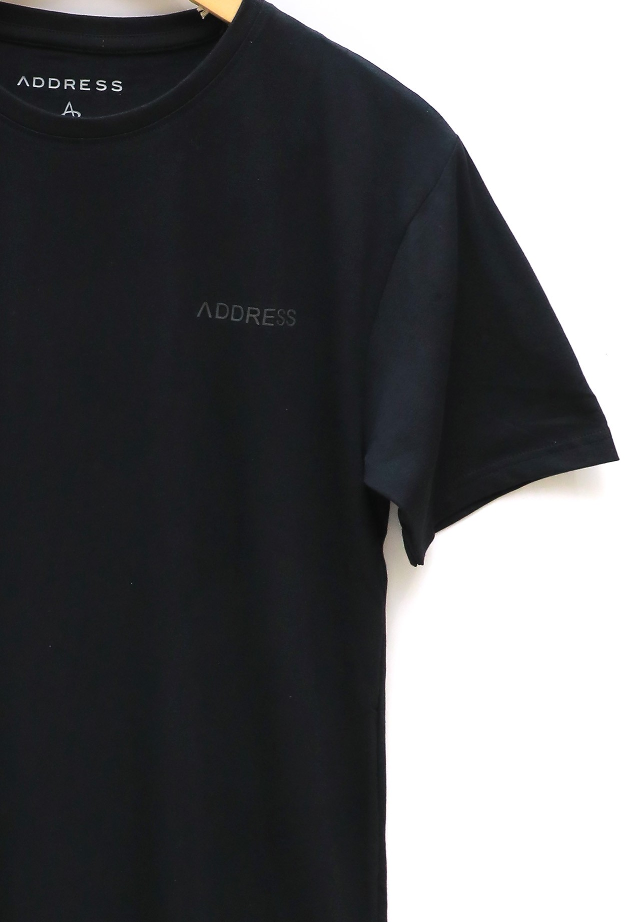 Address Black Plain T-Shirt Round Neck, XXL