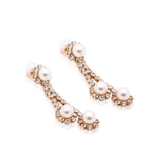 Kavani 18K Gold Plated Loops Design Pearl Drop Necklace Set