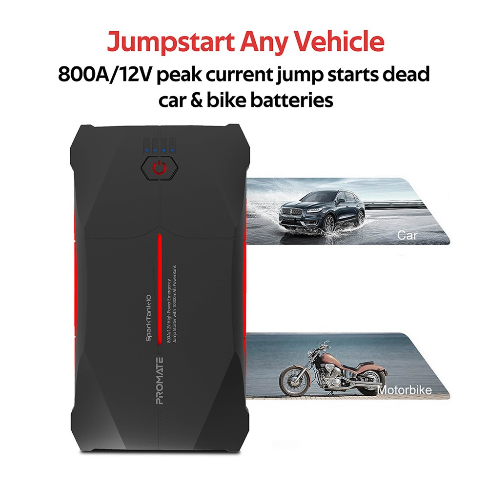Promate Car Jump Starter Power Bank, IP66 Water Resistant Portable Car Battery Booster with 10000mAh Power Bank, SPARKTANK-10