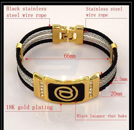 18k Gold Plated High Quality Stainless Steel Wire Rope Bracelet For Unisex