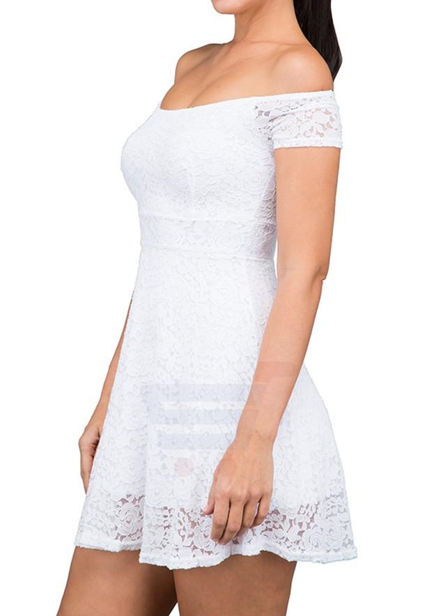TFNC London Dorothe Lace Casual Dress White - TIN 8370 - L
