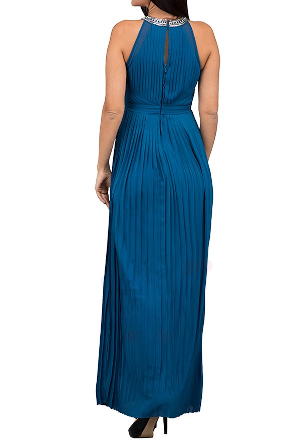 TFNC London Rosie Pleated Maxi Evening Dress Teal - CTT 6463 - L