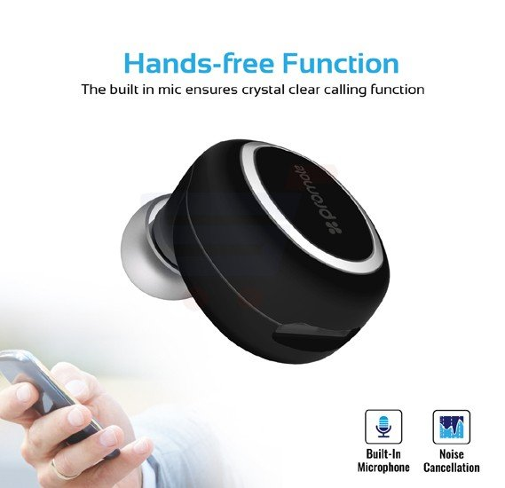 Promate Bluetooth Mono Headset, Universal Wireless Smallest Bluetooth Earbud with HD Sound Quality, Multi-Point Pairing, Noise Reduction and Built-In Mic for Phone X, 8, 8 Plus, Samsung Note 8, OnePlus 5T, Halo-2.Black