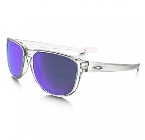 Oakley Rectangular Matte Clear Frame & Violet Iridium Mirrored Sunglasses For Unisex - 0OO9342-934202