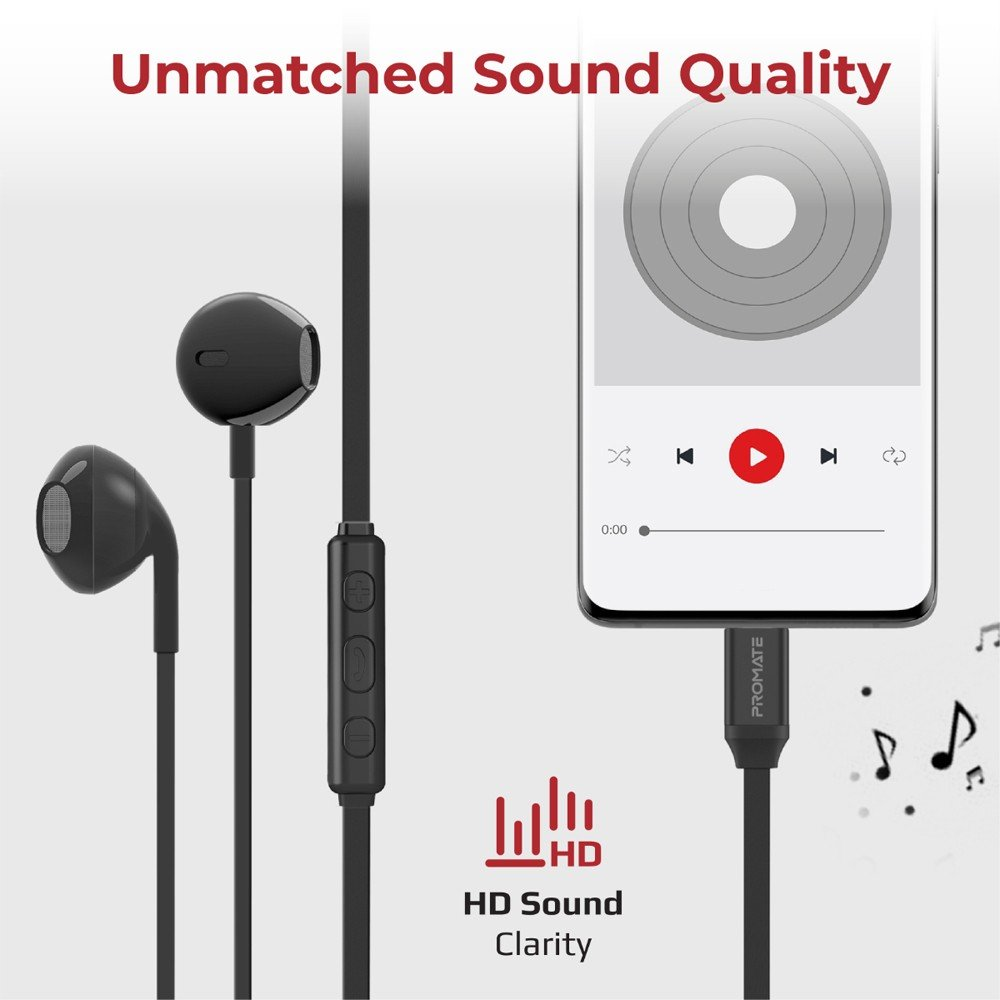 Promate USB C Earphones Ergonomically High Definition USB Type C Headphones with Microphone Passive Noise Cancellation and In-Line Volume Control,GearPod-C1 Black
