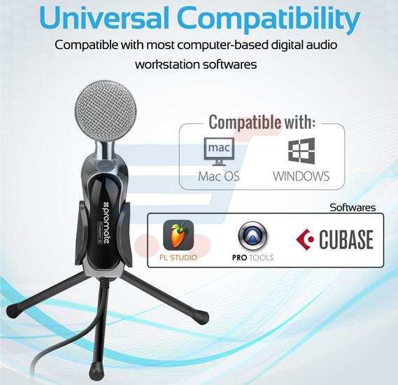 Promate Desktop Microphone Tweeter-7 Black, 3.5mm Professional Condenser Sound Podcast Studio Microphone