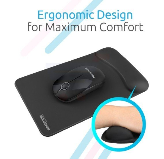 Promate Mouse Pad, Ergonomic Non-Slip Mouse Pad with Anti-Microbial Memory Foam Wrist Support and Large Accurate Tracking Surface for Laptops, Desktops, Accutrack-2 Black