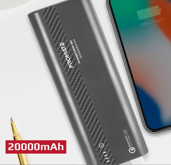 Promate Qualcomm QC3.0 Power Bank, Aluminium Portable 10000mAh USB Type-C™ Input /Output 18W Power Delivery Portable Charger, POWERTANK-20.GREY