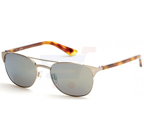 Guess Round Havana & Gold Frame & Green Mirrored Sunglasses For Unisex - GU7413-32Q