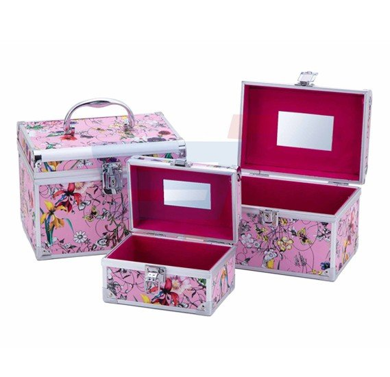 J.Rosee Portable Ladies Aluminum 3 in 1 Makeup Case Pink JR-8317