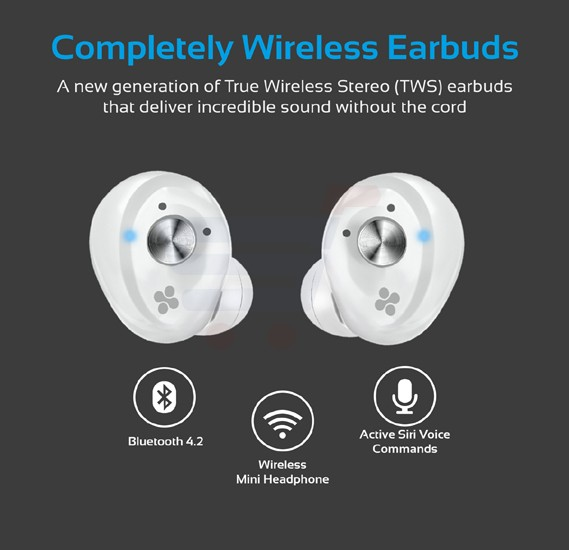 Promate True Wireless Earbuds, Ultra-Mini Bluetooth 4.2 Stereo Earphones with Built-In Mic and Quick Charging Case, Noise Cancelation, Sweat Resistance for Gym, Running, iPhone, iPod, Samsung, PrimeBud.White