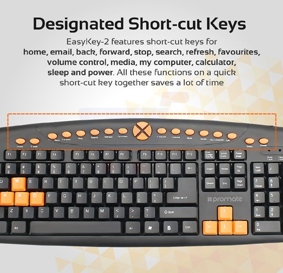 Promate Multimedia Keyboard, Ergonomic Multimedia Keys Keyboard with Swappable Gaming Keys and 10 Million Keystroke Quiet Keys for Gaming, Laptops, PC, iMac, Alienware, ASUS, EASYKEY-2.BLK/AE