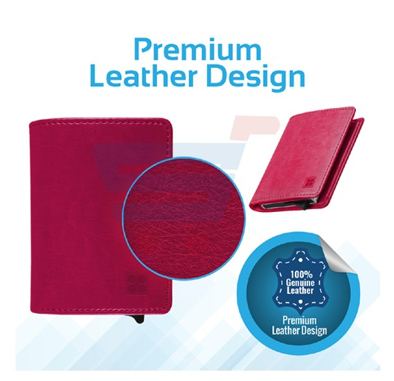 Promate RFID Blocking Wallet, Ultra Slim Bi Fold Leather Wallet with RFID Protection and 2 Currency Pockets for ID Card, Credit Card, Business Cards, Cash, RFIDWALLET.PINK