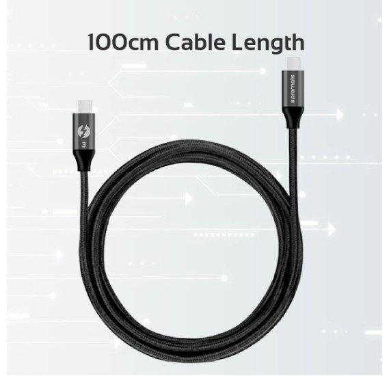Promate USB Type-C™ Cable, Heavy Duty Mesh Armored USB-C™ to USB-C™ Cable (Thunderbolt 3 Compatible) with 100W Power Delivery, 4K Display Support and 20Gbps Transfer Speed for All Type-C™ Enabled Devices, ThunderLink-C20
