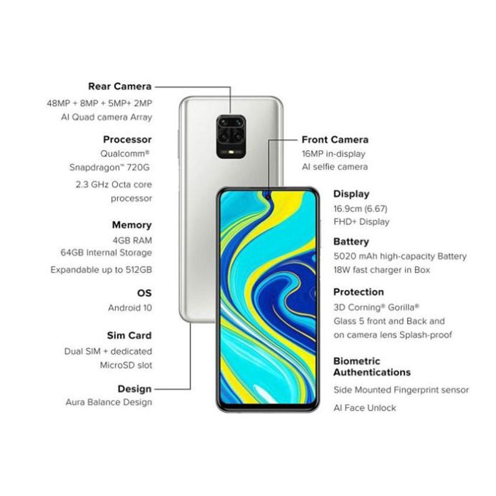 Xiaomi Redmi Note 9 Pro Dual SIM 6GB RAM 128GB 4G LTE- Glacier White