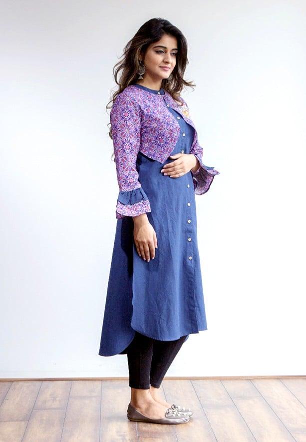 Ruky Fareen Women Over Jacket Long Top Kurti Full Sleeve, RF 230 - M