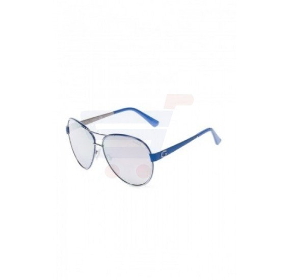 Guess Aviator BlueFrame & Silver Mirrored Sunglasses For Woman - GU7443-10C