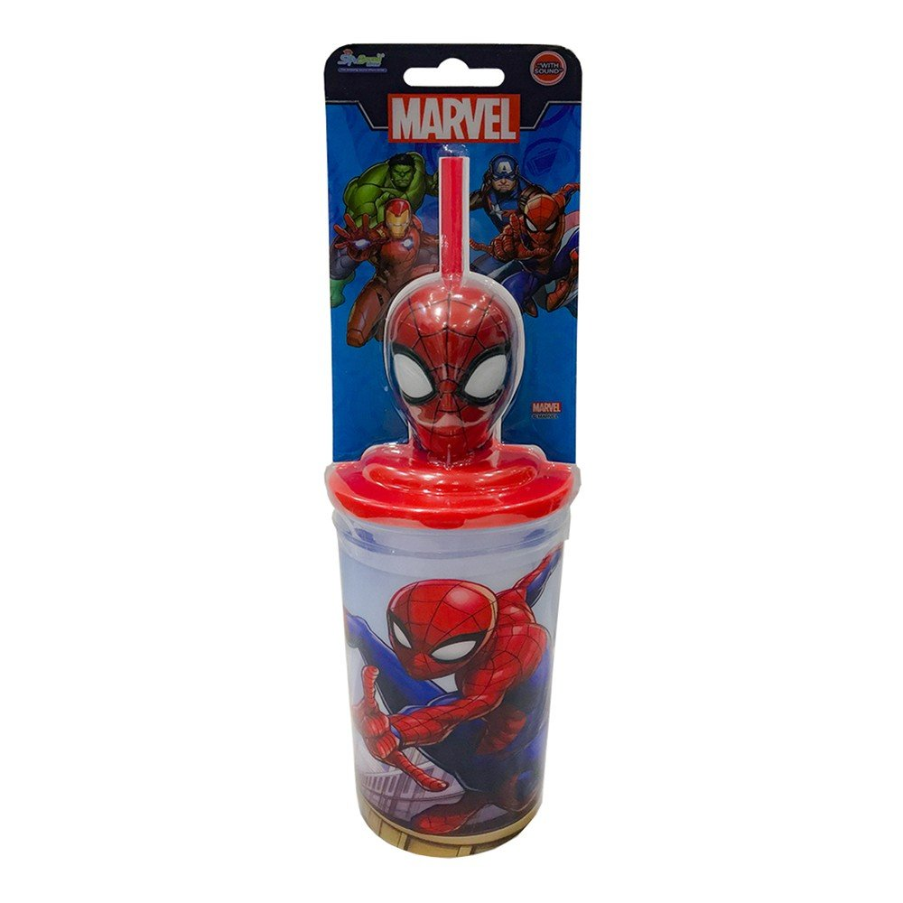 Sip N Sound Marvel Spider Man Recyclable Straw With 400ml Cup, Red, MSNS18004
