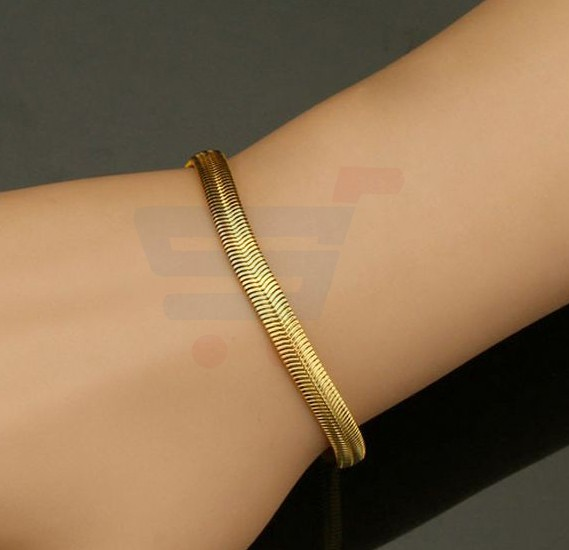 18k Real Gold Plated Chunky Snake Chain Bracelet with 18KGP Metal Stamp For Men