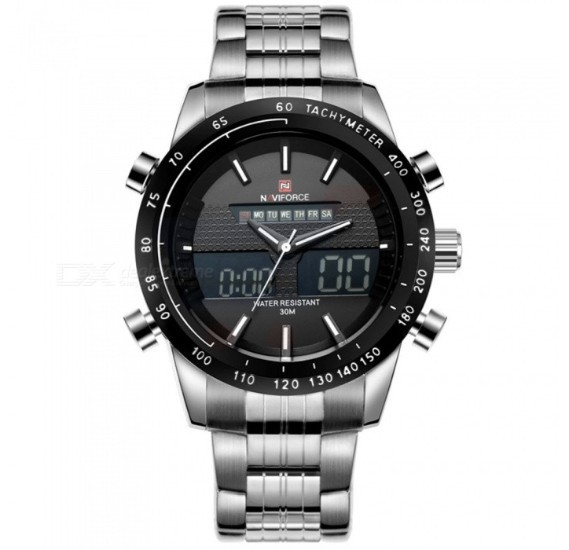 Naviforce Analog/Digital Watch For Men, Silver Metal Band - NF9024